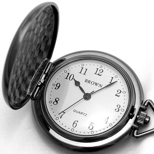 BROWN (ブラウン) 懐中時計 ポケットウォッチ ガンメタル×ホワイト文字盤 AABROW0008