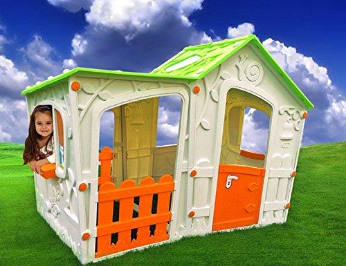 Spielhaus Kinderspielhaus XXL komplett Überdacht für drinnen und draußen Gartenhaus Kinderhaus Kinder Spiel Haus Gartenhaus DE120