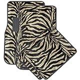 OxGord Front & Back Seat Zebra/Tiger Stripe Carpet Mats for for Car/Truck/Van/SUV, Brown & Black