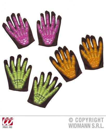 1 Paar Skelett 3D Handschuhe Neon für Kinder in PINK