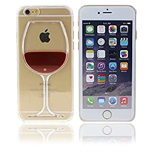 3d Red Wine Glass Transparent Hard Case Cover Shell for Iphone 6 (4.7 Inch) + Screen Protection Film Guard by LOTW