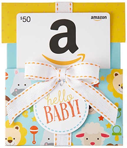 Amazon.com $50 Gift Card in a Hello Baby Reveal (Classic White Card Design)