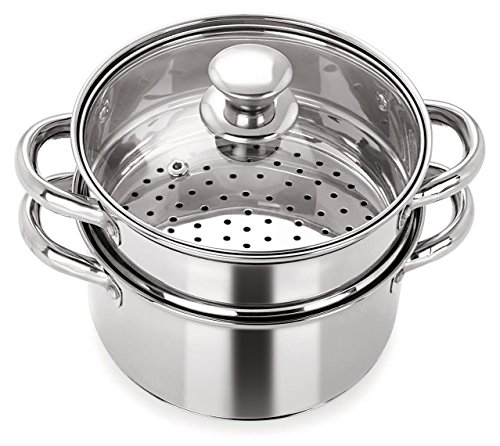 fae2a9b28 PRISTINE Stainless Steel Induction Base Tri Ply 2 Tier Multi Purpose Steamer  with Glass Lid
