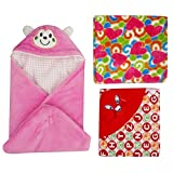 BRANDONN Hooded Blanket Cum Wrapping Sheet For Babies (Set Of 3, COMBO1)