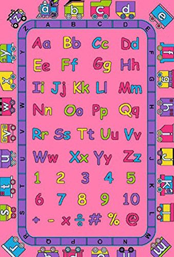 3X5 Educational Area Rug Abc Kids School Time Numbers & Train Pink Girls