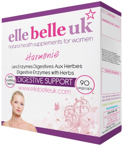 Elle Belle UK - Harmonie - Superior Quality Digestive Enzymes Health Supplement - 90 Vegetarian Friendly Capsules - Contains No Additives or Fillers.