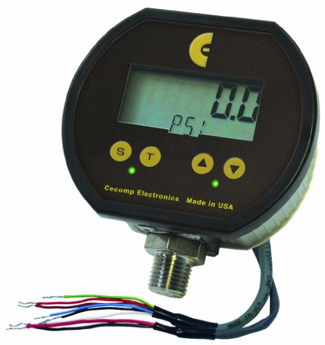 Cecomp Electronics F16Ada15Psivac Digital Pressure Gauge With Duel Alarms And Retransmission, +/- 0.25% Accuracy, 15 Psig Vacuum Pressure Range