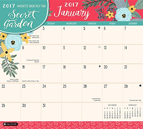 Orange Circle Studio 2017 Magnetic Monthly Calendar Pad, Secret Garden (Magnetic Monthly Pad)