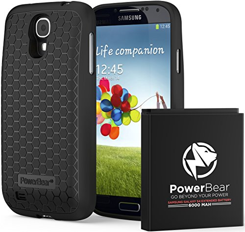 PowerBear Samsung Galaxy S4 Extended Battery [6000mAh] & Back Cover & Protective Case (Up to 2.3X Extra Battery Power) - Black [24 Month Warranty & Screen Protector Included] (Samsung Galaxy 24 Mini Case compare prices)