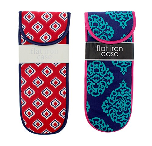 Cotton Flat Iron Travel Case, Assorted Blue Pattern Designs - 2 Pack, 13