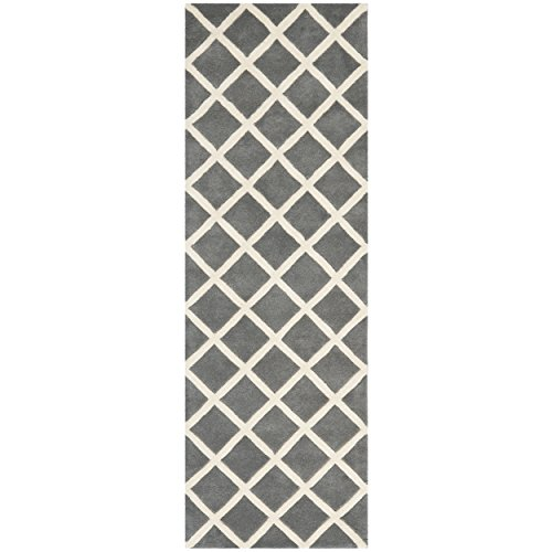 Safavieh Chatham Collection CHT718D Handmade Dark Grey and Ivory Wool Runner, 2 feet 3 inches by 7 feet (2'3