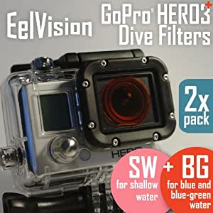 EelVision Dive and Snorkel Filters for GoPro HERO4 HERO3+ HERO3 (2 pack: BG+SW) Red / Scuba Diving / Snorkeling / Underwater Color Correction