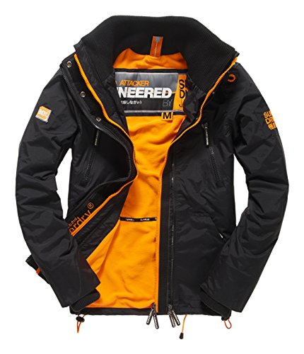 SUPERDRY Polar Wind Attacker, Giacca Uomo, Black/Fluro Orange43A, S