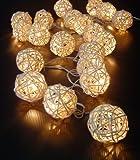 Creamy White Rattan Cane Balls Fairy Light String 220v 3 Meters Long