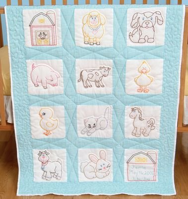 Stamped White Nursery Quilt Blocks 9X9 12/Pkg-Farm Animals
