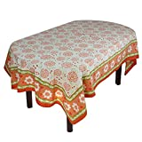 """Handmade Indian 60"""" X 90"""" Rectangular Tablecloth - Beautiful Orange, Red And Green Floral Cotton"""