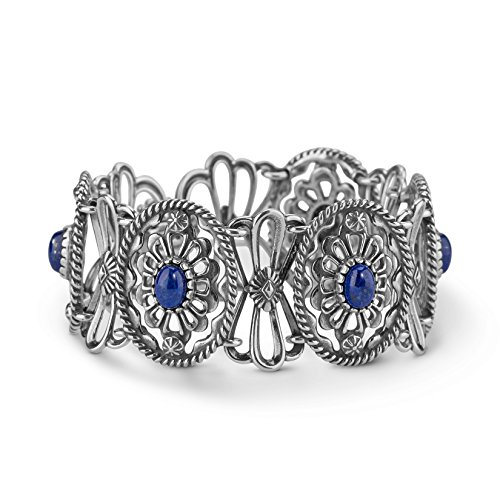 Sterling Silver Lapis Concha Link Bracelet