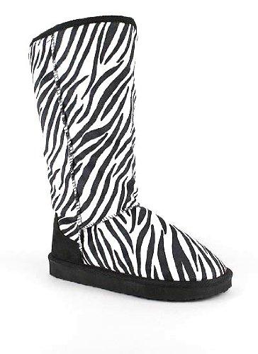 Zebra Print Faux Shearling Boot