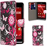 32nd® Design book PU leather wallet case cover for Sony Xperia SP (M35h) mobile phone - Gerbera