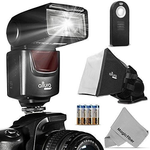 Altura Photo (Ap-Unv1) Speedlite Flash Kit For Canon Nikon Sony Panasonic Olympus Fujifilm Pentax Sigma Minolta Leica And Any Digital Camera With A Hot Shoe Mount - Includes: Altura Photo Flash + Softbox Flash Diffuser + Universal Remote + Magicfiber Micr