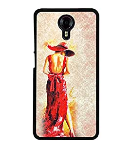 Girl in Red Dress 2D Hard Polycarbonate Designer Back Case Cover for Micromax Canvas Xpress 2 E313