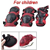 Child Skating Cycling Elbow Knee Wrist Support Pad Red Black
