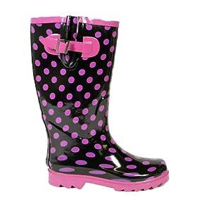 Ladies Purple Spot Wellies Womens Wellington Boots