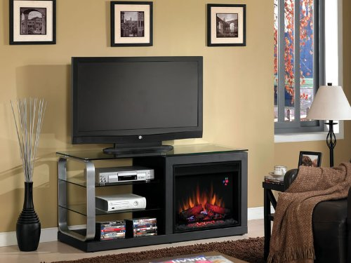 Luxe 52-Inch Electric Fireplace Media Console - Black Metal - 23Mm9501