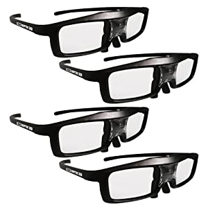 True Depth 3D® Firestorm LT Lightweight Rechargeable DLP link 3D Glasses for All 3D Projectors (Benq, Optoma, Acer, Vivitek, Dell Etc) and All DLP HD 3D TVs (Mitsubishi, Samsung Etc) Compatible At 96 Hz, 120 Hz and 144 Hz! (4 Pairs!) by True Depth 3D