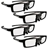 True Depth 3D® NEW Firestorm LT Lightweight Rechargeable DLP link 3D Glasses for All 3D Projectors (Benq, Optoma, Acer, Vivitek, Dell Etc) and All DLP HD 3D TVs (Mitsubishi, Samsung Etc) Compatible At 96 Hz, 120 Hz and 144 Hz! (4 Pairs!)