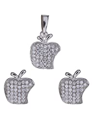 Agarwal Jewellers 92.5 Sterling Silver Pendant Set For Women - B00LC9XP1O