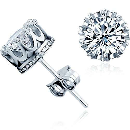 Winter's Secret 18K Fashion Silver Plated Crown Shape Diamond Accented Lover Stud Earring