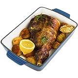 Andrew James Blue Enamel Coated Cast Iron Rectangular Cooking Dish / Tray