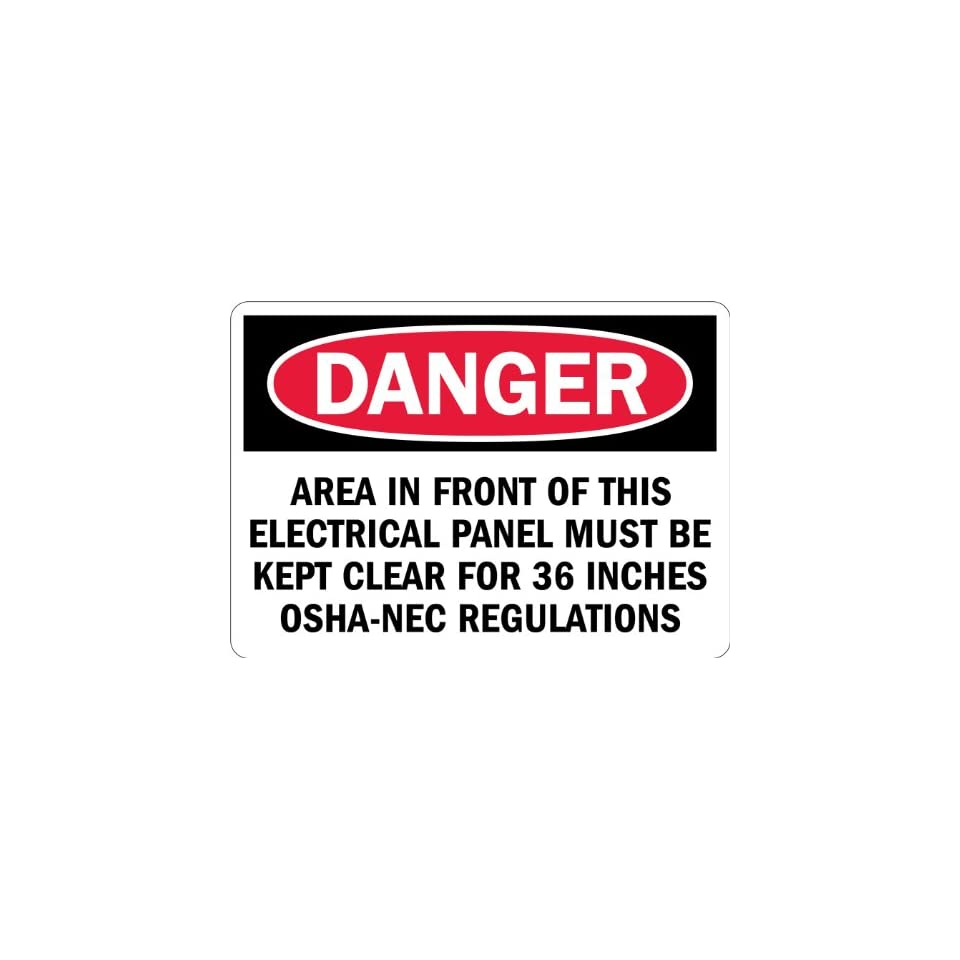 SmartSign 3M Engineer Grade Reflective Label, Legend Danger Area Must be Kept Clear for 36 inches, 7 high x 10 wide, Black/Red on White
