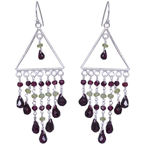 Peridot & Garnet Gemstone Earrings Made In .925 Solid Silver (multicolor)