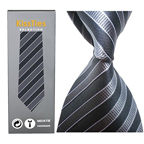 KissTies Men's Striped Tie Extra Long Necktie Wedding Party Gift (63'' XL),Grey (Xl Mens Ties compare prices)