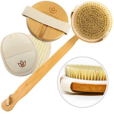 Body Scrub Bath Brush Set - Long Handle, Detachable Exfoliating Body Scrub Brush For Women & Men - Body Brush Improves Circulation, Reduces Cellulite - Recommended Dry Skin Brush