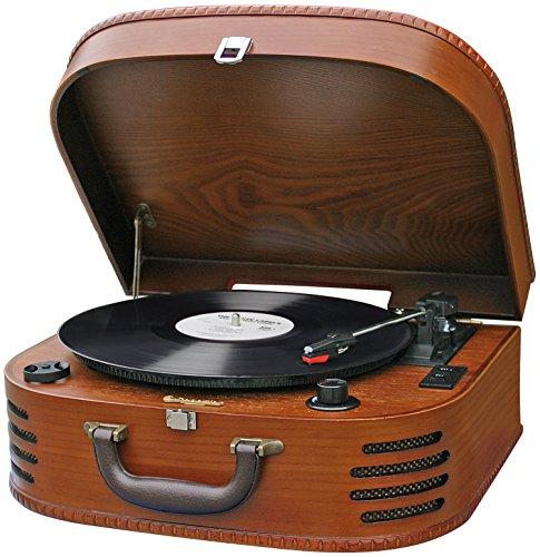 Roadstar TTR-630WD Halbautomatischer Retro Koffer Plattenspieler (UKW Stereo Radio, AUX-In, Gehäuse, Verstärker)