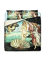 Tele d'autore by MANIFATTURE COTONIERE Juego De Funda Nórdica Botticelli-Venere (Verde Agua/Multicolor)