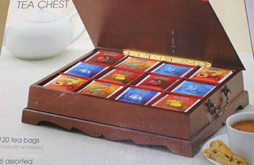 Classic Wooden Tea Chest 120 Tea Bags Hand Crafted
