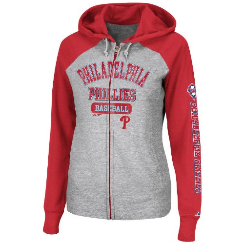 MLB Philadelphia Phillies Women's This Is My Team Full-Zip Hooded Fleece Jacket, Heather/Red/White, Medium at Amazon.com