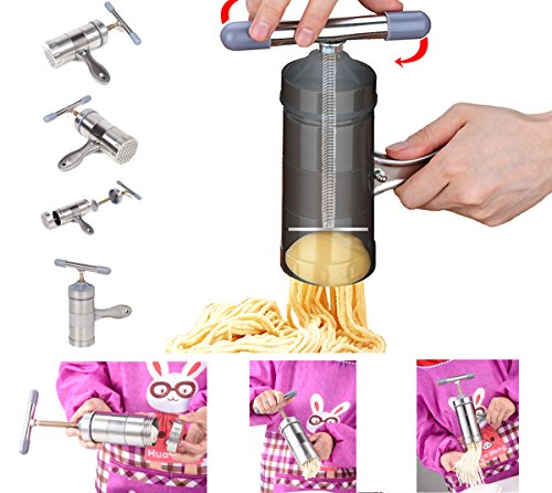 JOYOOO Stainless Steel Noodle Press Machine with 5 Noodle Moulds Kitchen Tool Kit