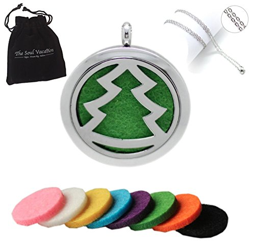 Essential Oil Diffuser Necklace - Christmas Tree Aromatherapy Pendant, Velvet Jewelry Bag, Extra Pads (Young Living Premium Starter Kit compare prices)