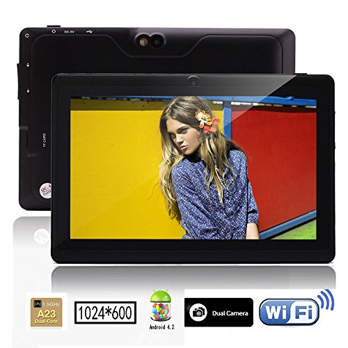 iRulu 7 inch Android Tablet PC, 1024*600 HD Gauge with 5 Point Capactive Touch, 4.2 Jelly Bean OS, Dual Core, Allwinner A23 CPU, Dual Cameras(0.3/2MP), 8GB Storage (Stygian)