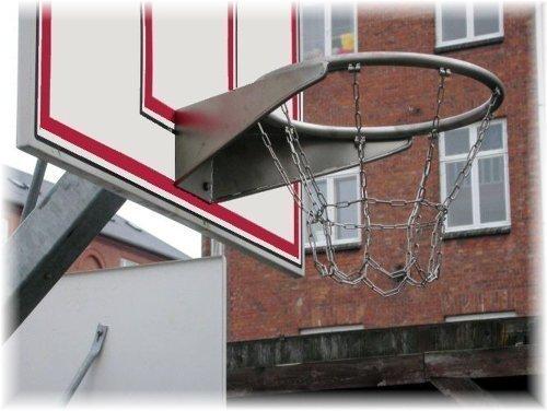 R&T - Cesto per pallacanestro, in acciaio INOX con rete in metallo, certificazione TÜV/GS