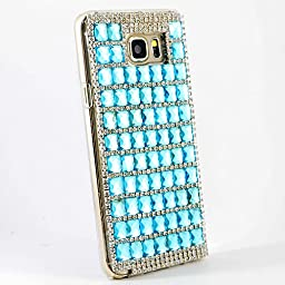Samsung Galaxy Note 5 Case, Sense-TE Glamour Crystal [3D Handmade] [Sparkle Glitter] Diamond Rhinestone Clear Cover with Retro Bowknot Anti Dust Plug - Blue