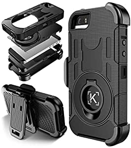 iPhone SE Case,KaptronTM Hybrid Dual Layer Combo Armor Defender Protective Case with Kickstand and Belt Clip for iPhone SE / iPhone 5S / 5