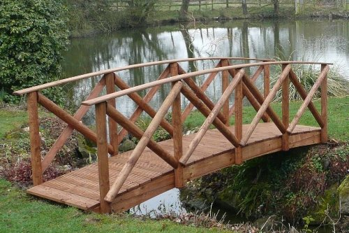Rustic High Rail Garden Bridge (8ft Rustic HR)