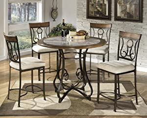 hops 4pc round counter height table and stool set table chair sets