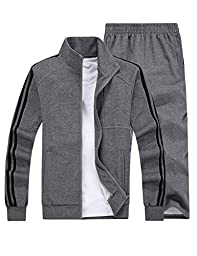 Small-laly Mens Sports Sets Zip Up Jacket & Pants Deep Grey 5X-Large